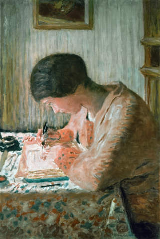 Pierre Bonnard: Writing Woman. Art Print, Canvas on Stretcher, Framed  Picture