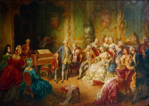 The young Mozart is introduced to Empress Maria Theresa by Joseph II of artist Eduard Ender as framed image