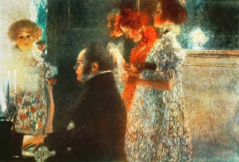 Fine Art Reproduction, individual art card: Gustav Klimt, Schubert at the piano