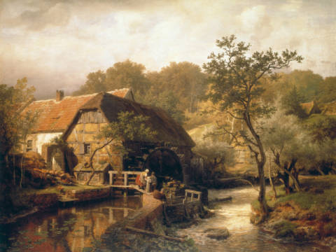 Fine Art Reproduction, individual art card: Andreas Achenbach, Watermill in Westphalia
