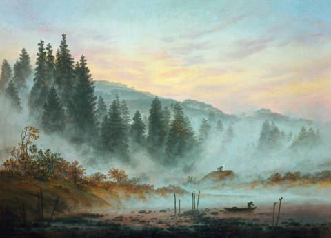 Morning of artist Caspar David Friedrich as framed image