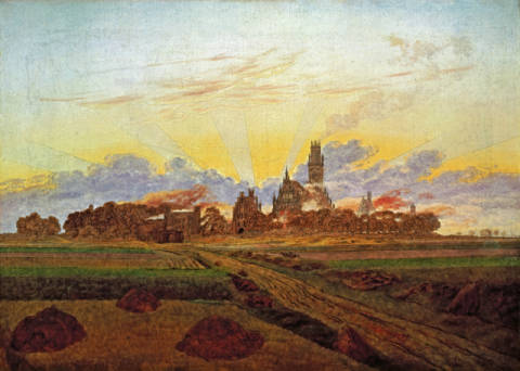 Fine Art Reproduction, individual art card: Caspar David Friedrich, Sunrise near Neubrandenburg