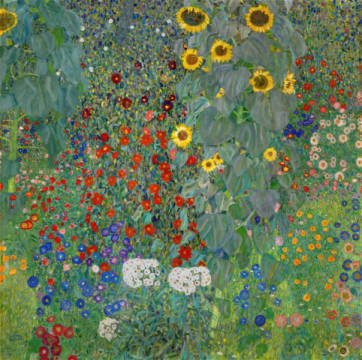 Fine Art Reproduction, individual art card: Gustav Klimt, Farm Garden with Flowers