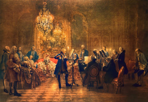 Frederick the Great's Flute Concert of artist Adolph Friedrich Erdmann von Menzel as framed image