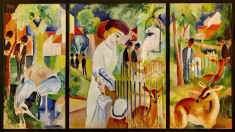 Triptych: big zoological garden of artist August Macke as framed image