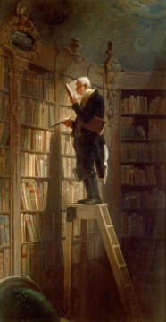 The Bookworm of artist Carl Spitzweg as framed image