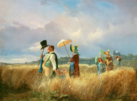 Der Sonntagsspaziergang of artist Carl Spitzweg as framed image