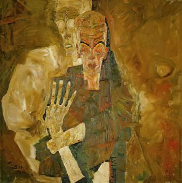 Egon Schiele: Tod und Mann. Kunstdruck, Leinwandbild