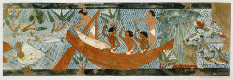 Fine Art Reproduction, individual art card: Ägyptische Malerei, Fishing / Egyptian Fresco / Tomb of Ipui