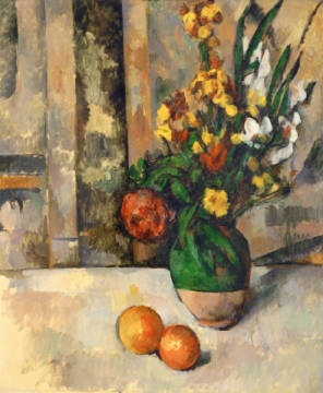 Vase with Apples of artist Paul Cézanne as framed image