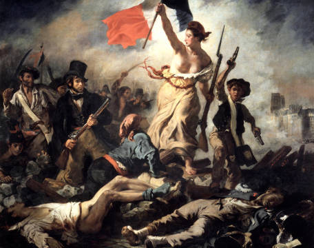 Liberty leading the People of artist Eug�ne Delacroix as framed image