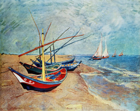 Fine Art Reproduction, individual art card: Vincent van Gogh, Fishing boats on the beach of Saintes-Maries
