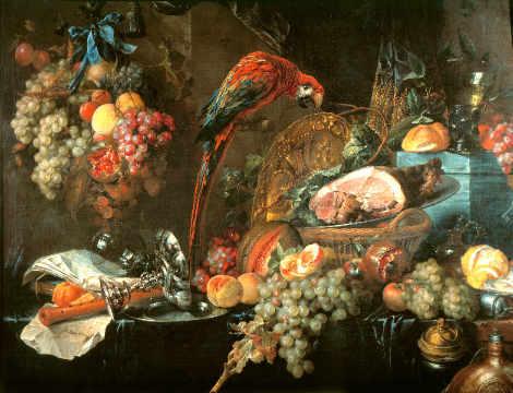 de Heem: Stilleben mit Papagei. Kunstdruck, Leinwandbild