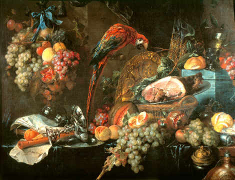 Still life with parrot of artist Jan Davidsz. de Heem as framed image