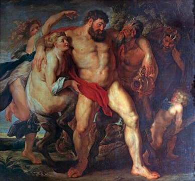 The drunken Hercules of artist Peter Paul Rubens as framed image