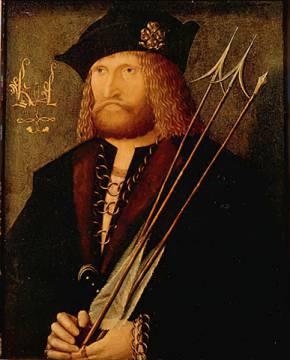 15 Jahrhundert: Holländ.Meister/ Mann mit drei Pfeilen
