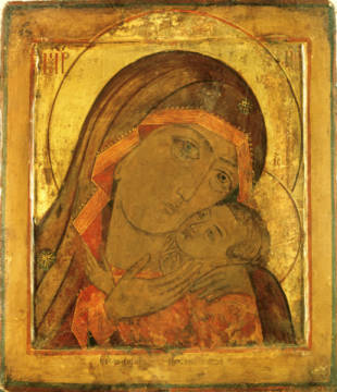 Madonna of Cherson / Russian Icon / of artist 18. Jahrhundert as framed image