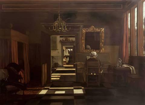 Emanuel de Witte - Interieur mit einer Clavichord spielenden Frau ...