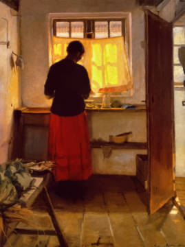 The Girl in the Kitchen of artist Anna Kristine Ancher as framed image