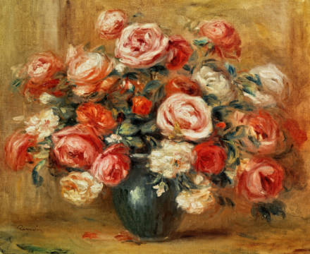 Fine Art Reproduction, individual art card: Pierre Auguste Renoir, Still Life with Roses