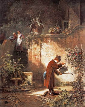 Carl Spitzweg / Der Gartenfreund /c.1860 of artist Carl Spitzweg as framed image