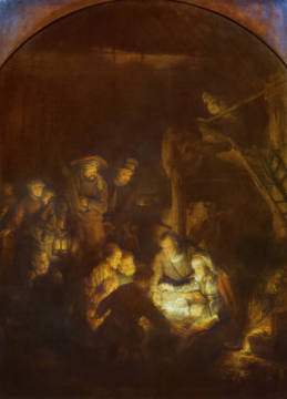 Adoration of the Shepherds of artist Harmensz van Rijn Rembrandt as framed image