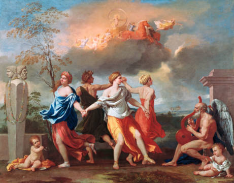 Dance to the Music of Time of artist Nicolas Poussin as framed image