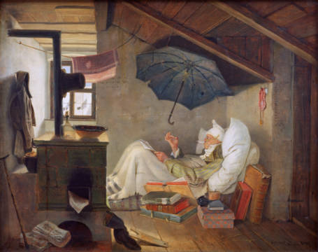 The poor poet of artist Carl Spitzweg as framed image