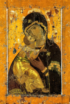 Mother of God from Vladimir of artist 13. Jahrhundert as framed image