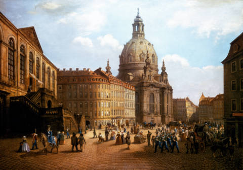 Der Neumarkt mit Frauenkirche of artist Robert Wehle as framed image