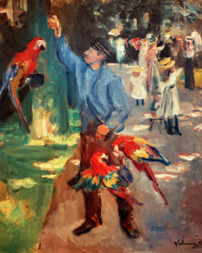 Fine Art Reproduction, individual art card: Max Liebermann, Papageienmann im Amsterdamer Zoo