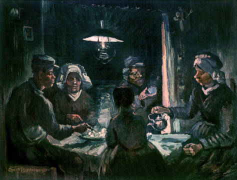 The Potato Eaters, Nuenen, April 1885 of artist Vincent van Gogh as framed image