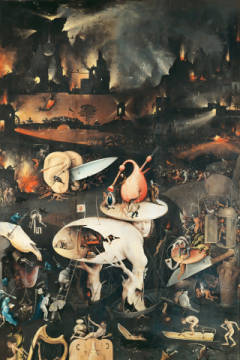 The Garden of Earthly Delights, Hell, right wing of triptych, detail of artist Hieronymus Bosch as framed image