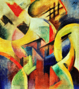 Fine Art Reproduction, individual art card: Franz Marc, Small composition I