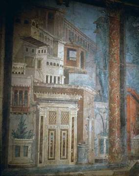 Roman wallpainting from Boscoreale of artist Pompeji as framed image