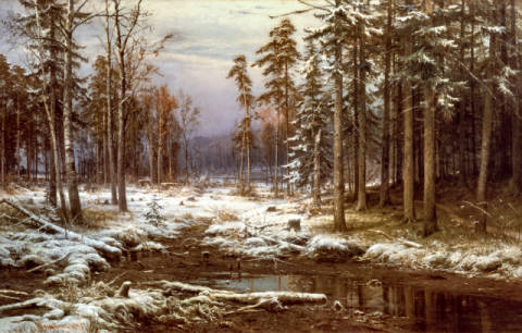 Fine Art Reproduction, individual art card: Iwan Iwanowitsch Schischkin, First snow