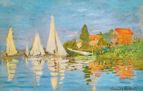 Regatta at Argenteuil of artist Claude Monet as framed image