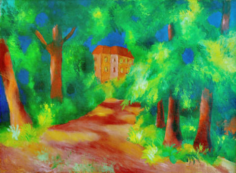 Red house in a parc of artist August Macke as framed image