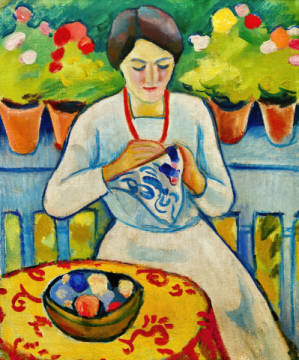 Fine Art Reproduction, individual art card: August Macke, Woman on a Balcony