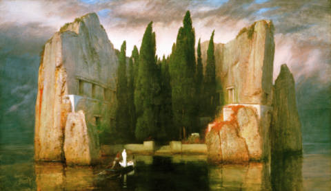 Island of the Dead of artist Arnold Böcklin as framed image