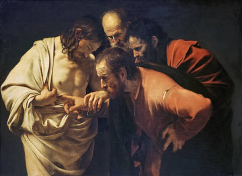 Doubting Thomas of artist Michelangelo Merisi da Caravaggio as framed image