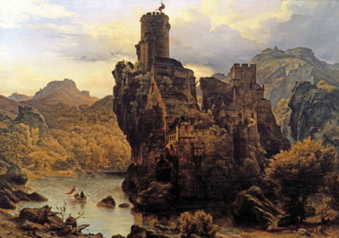 Castle on a rock of artist Karl Friedrich Lessing as framed image