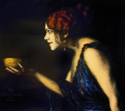 Tilla Durieux as Circe, c. 1912/13 of artist Franz von Stuck as framed image