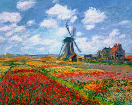 Kunstdruck, individuelle Kunstkarte: Claude Monet, Champs de tulipes en Hollande