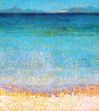 Fine Art Reproduction, individual art card: Henri-Edmond Cross, The iles d'Or, iles d'Hyeres, Var