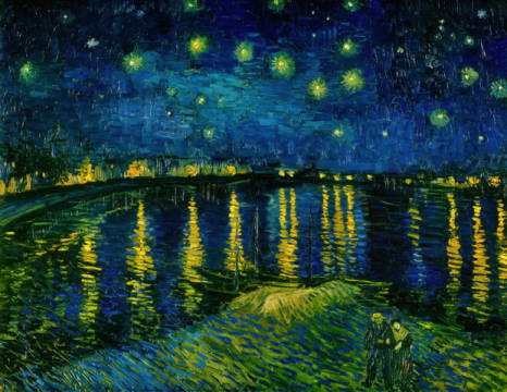 Starry Sky over the Rhone of artist Vincent van Gogh as framed image