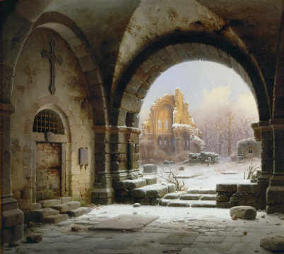 Fine Art Reproduction, individual art card: Wilhelm Steuerwaldt, Ruins of the Abbey of Heisterbach Rhineland
