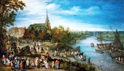 Fine Art Reproduction, individual art card: Jan Brueghel der Ältere, Village fair in Schelle, 1614. Oak, 92 x