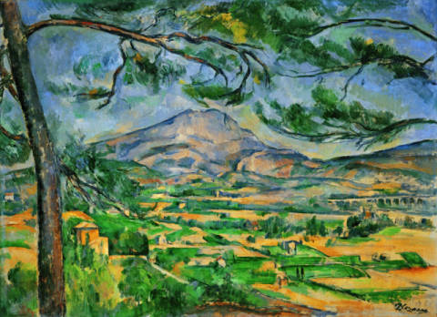 La Montagne Sainte-Victoire au grand pin of artist Paul Cézanne as framed image