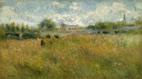 Landscape at the Seine near Rueil of artist Pierre Auguste Renoir as framed image